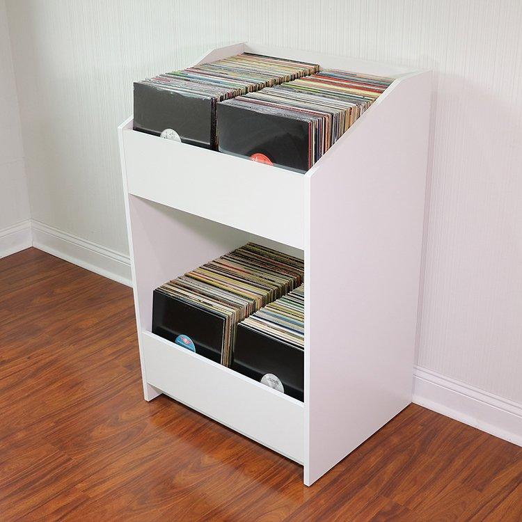 Lpbin lp storage cabinet natural white for Meuble disque vinyle